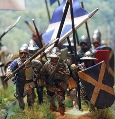 Scots that fought for the French 1429. 28mm Perry Miniatures figures painted by Bob Hornsby
