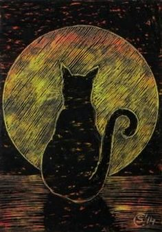 Black CAT 26 full moon night Halloween colored oil pastels painting Sandrine Curtiss