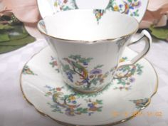 Duchess china Dinnerware E & B L England Birds & floral Cup and saucer