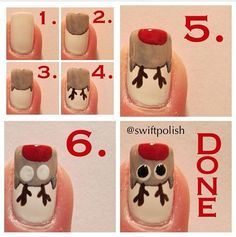 Rudolph the Reindeer Nail Art Tutorial nails diy reindeer nail art christmas tutorials christmas ideas christmas nails rudolph nail tutorials Christmas Nail Polish, Xmas Nail Art, Cute Christmas Nails, Holiday Nail Art, Xmas Nails, Christmas Nail Art Designs, Winter Nail Art, Cool Nail Art, Winter Nails