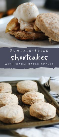 Pumpkin Spice Shortcakes are the perfect fall treat, infused with warm autumn spices and filled with maple apples and creamy, protein-packed vanilla bean ice cream.