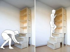 interior design, home decor, storage, Garage shelving idea: the lower shelves actually glide out so you can step to reach top shelved items. Then they slide back to the wall. Ladder Shelving Unit, Garage Shelving, Garage Storage, Diy Garage, Kitchen Storage, Garage Shelf, Garage Attic, Basement Storage, Pantry Storage
