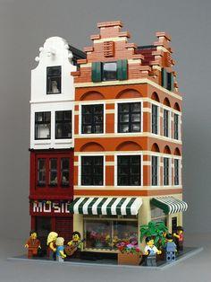 Modele Lego, Casa Lego, Lego Building, White Building, Lego Modular, Cool Lego Creations, Lego Design, Custom Lego, Lego Moc