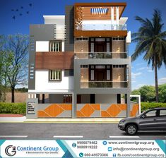 Beautiful Front Elevation House Design By Ashwin Architects. Symmetrical Front Shoot Of An Office Building With Blue . Home and furniture ideas is here House Design 3d, Bungalow House Design, House Front Design, Duplex House, Building Front, Building Design, Building A House, 3d Building, Building Ideas