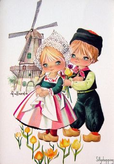 Gallarda ~ vintage Dutch themed postcard reminds me of THE HOLLAND billboard that was over by PIR when we would go to Grandma's house. Vintage Pictures, Vintage Images, Cute Pictures, Vintage Greeting Cards, Vintage Postcards, Vintage Illustration, Oldschool, Thinking Day, Delft