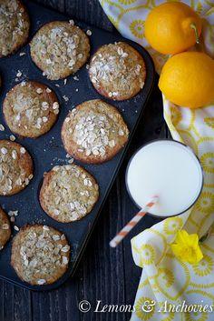 Meyer Lemon Poppy Seed Oatmeal Muffins (Low Fat)