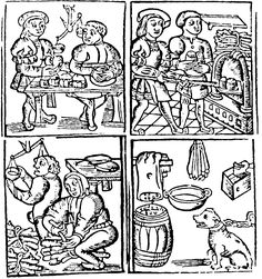 """""""The Frontispiece to the Assyse of Bread, depicted in Fig. 23, shows bakers forming manchet loaves, using wooden peels to take the loaves in and out of the oven, and scales for weighing the flour and finished loaves. We also see a man tying faggots of wood to use in firing the oven, while a dog appears to be guarding the salt box."""""""