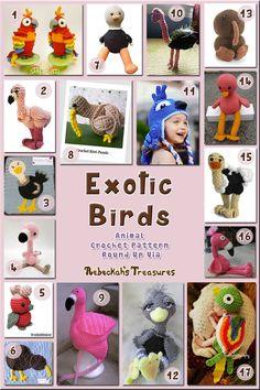 Exotic Birds - Animal Crochet Pattern Round Up via @beckastreasures