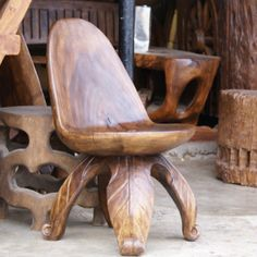 Carved wood chair.