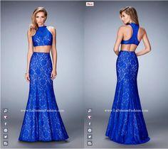 La Femme Prom style - 22393 two piece prom dress - blue prom dress - formal dress - racer back - mermaid skirt - lace - rhinestone embellished