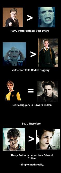 simple math I do like twilight however Harry potter is obviously better, there's even math to prove it! ;)