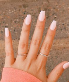 Baby Pink Nails Acrylic, Pale Pink Nails, Light Pink Nails, Acrylic Nails Coffin Short, Simple Acrylic Nails, Summer Acrylic Nails, Baby Pink Nails With Glitter, Light Pink Nail Designs, Light Colored Nails