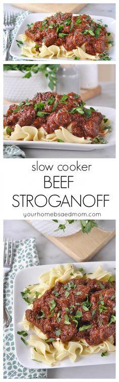 slow cooker beef stroganoff @yourhomebasedmom.com