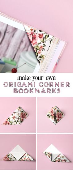 YOUR OWN ORIGAMI CORNER BOOKMARKS. Learn how to fold your own origami triangle corner bookmarks and never lose your page againLearn how to fold your own origami triangle corner bookmarks and never lose your page again Origami Ball, Origami Rose, Origami Simple, Origami Butterfly, Useful Origami, Diy Origami, Origami Tutorial, Origami Paper, Origami Folding