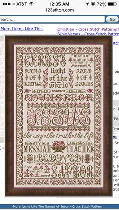 977eab251fbe4 Names of God Cross Stitch Pattern Idea Cross Stitch Samplers
