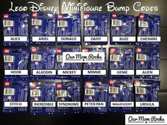 Disney Lego Minifigures Bump Codes & Box Reveal via http://ourmomrocks.com/lego-minifigures-collection-features-18-iconic-disney-characters-bump-codes-box-reveal/