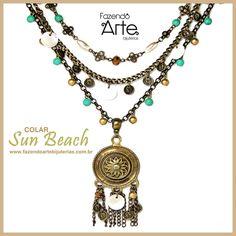 Colar Sun Beach para as descoladas que gostam da tendência Bohemian Style, com uma pegada rústica e praiana!!!
