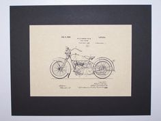 Harley Cycle Support 1928 Patent Drawing Motorcycle Harley Davidson