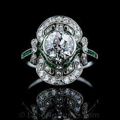 Edwardian Diamond and Emerald Ring