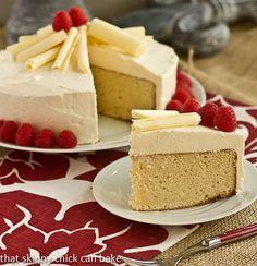 Vanilla Cake with White Chocolate Buttercream by @That Skinny Chick Can Bake!!! #vanilla #cake #chocolate #YBR