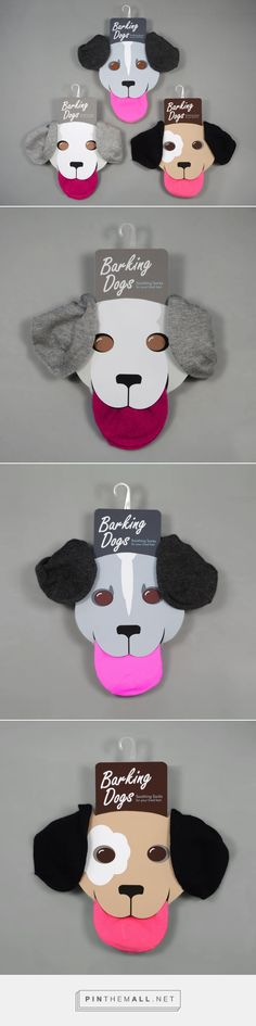 Barking Dogs Socks Packaging by Gwyn Lewis I I Socks are generally not wrapped entirely, a portion or all of the product is exposed. Why not use that fact and some cute pups to grab attention for humble socks. Kids Packaging, Clever Packaging, Innovative Packaging, Brand Packaging, Clothing Packaging, Fashion Packaging, Label Design, Branding Design, Package Design