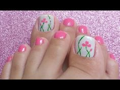 Make an original manicure for Valentine's Day - My Nails Gold Toe Nails, Pretty Toe Nails, My Nails, Pedicure Designs, Toe Nail Designs, Flower Pedicure, Pink Pedicure, Minimalist Nails, Trendy Nails