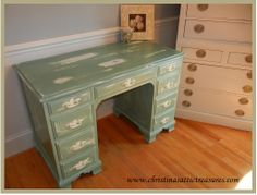 Beautiful Desk done in Annie Sloan's Duck Egg.  http://www.christinasattictreasures.com