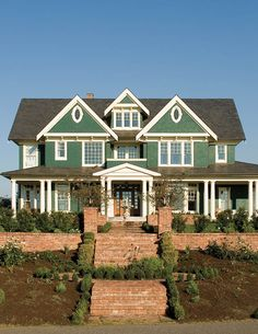 The lay out of this house with a craft room.and large gathering rooms has always been very loving to me as a Large Farm House to raise a big family in. I don't like the Green paint. I would have done this as a Cape Cod shingle siding home. House Plans And More, Luxury House Plans, House Floor Plans, Mary Poppins, Style At Home, Farming, Shingle Siding, Shingle Style Homes, Arts And Crafts House