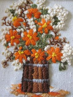 VINTAGE 1970's Crewel Embroidery Needlework