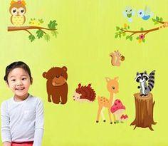Squirrel Bear Deer Hedgehog Removable Vinyl Decal Wall Stickers fOR Kid Room SS Kids Room Murals, Wall Murals, Vinyl Art, Vinyl Wall Decals, Kids Room Wall Stickers, Forest Animals, Room Themes, Kids House, Diys