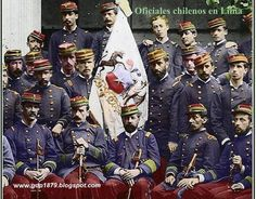 Photo of Chilean officials in Lima taken by the Courret studio during the Chilean occupation of Lima in Colorized by Filibusteria. Posted by Jonatan Saona. Peru History, Bolivia, War Of The Pacific, Berlin, American War, Napoleon, Armed Forces, Victorian Era, South America