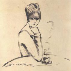 At the café  -  José Stuart Carvalhais (  Stuart Oak)  Portugese, 1887-1961