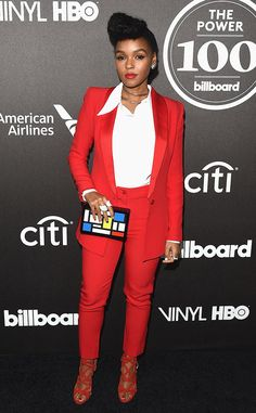 Janelle Monae from Grammys 2016: Party Pics Stepping out in style! The singer rocks in red while attending the Billboard Power 100 celebration.