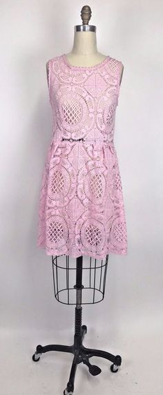 Urban Outfitters Medallion Fit and Flare pink Lace Dress by Kimchi Blue Medium #KimchiBlue #FitFlare