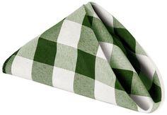 LinenTablecloth 15-Inch Polyester Napkins (1-Dozen) Green & White Checker