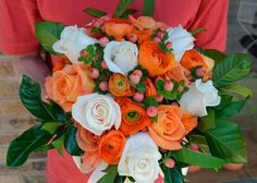 wedding floral arrangements white orange - Google Search