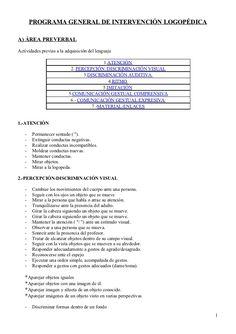 PROGRAMA GENERAL DE INTERVENCIÓN LOGOPÉDICAA) ÁREA PREVERBALActividades previas a la adquisición del lenguaje             ...