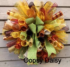 Curly spiral poly mesh wreath  chevron burlap by OOPSYDAISYDESIGNS, $60.00