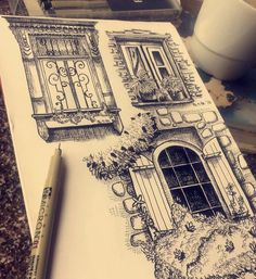 Pen illustration by Pritika Uppal . Drew some windows today -Pen illustration by Pritika Uppal . Drew some windows today… … Pen illustration by Pritika Uppal . Drew some windows today… See it Pencil Art Drawings, Art Drawings Sketches, Art Sketches, Pen Sketch, Window Drawings, Sketch Drawing, Drawing With Pen, Character Sketches, Architecture Drawing Sketchbooks