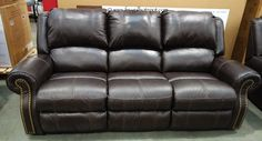 Berkline Leather Reclining Sofa. #Costco . Leather or pleather for mom and dad so can get out of it easier. Also a little stiffer instead of plush.