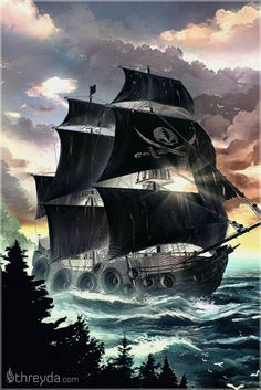 Ghost Riding The Ship by Justin Totemical - Threyda Art and Apparel Pirate Boats, Pirate Art, Pirate Life, Pirate Ships, Pirate Ship Tattoos, Pirate Tattoo, Pirate Ship Drawing, Pirate Ship Painting, Old Sailing Ships