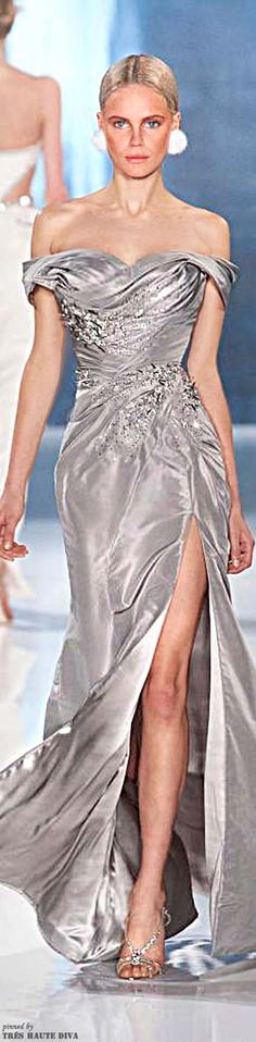Valentin Yudashkin Fall/Winter 2013 - Soft Flowing Silver/Grey Gown With Deep Slit and Embellishments -ShazB