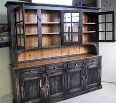 tall Rustic dining room side board | Home / / China Cabinets & Hutches / Custom Rustic Dining Room Hutch