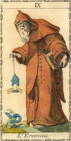 ☤alquimia - alquimia - Ancient Tarot of Lombardy - The Hermit The Hermit Tarot, Tarrot Cards, Vintage Tarot Cards, Star Tarot, Tarot Major Arcana, Tarot Card Meanings, Spiritus, Oracle Cards, Tarot Decks