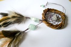 THE FLUORITE - Small Dream Catcher - Gypsy Gemstone Decor  - Stocking Stuffer - Bridesmaid Gifts - Sun catcher - Christmas Ornament by WelcomeToMyDream on Etsy