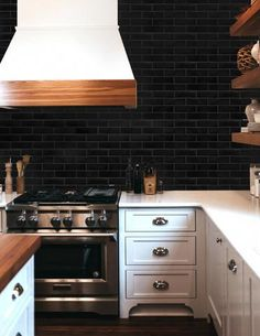 Contemporary style kitchen designs are among the methods to go. You do not require a complicated kitchen so it will be stick out, just some unique designs that can make your kitchen area the envy of the neighbors. Contemporary Style Kitchen, Subway Tile Backsplash Kitchen, Brick Tiles, Brick Backsplash Kitchen, Contemporary Kitchen, Black Tiles Kitchen, Black Backsplash, Kitchen Tiles, Flooring Shops