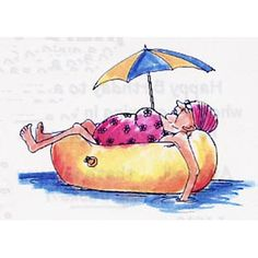 Lady in bathing suit floating in inner tube with sun umbrella attachedFor a fun card, pair this stamp with E3477,