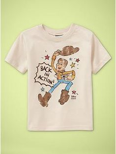 Back in Action!  Woody toy story tee by Junk Food for GAP toddler boys. $19.95 www.junkfoodclothing.com    Buy it here:  http://www.gap.com/browse/product.do?cid=69053&vid;=1&pid;=138005&scid;=138005012
