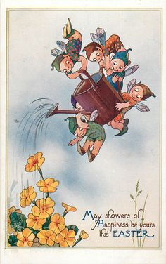 MAY SHOWERS OF HAPPINESS BE YOURS THIS EASTER  five flying pixies use watering can