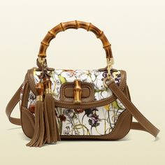 Gucci New Bamboo Flora Canvas Top Handle Bag